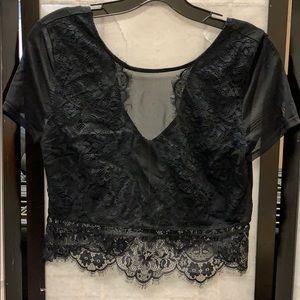 Express sheer and lace crop top
